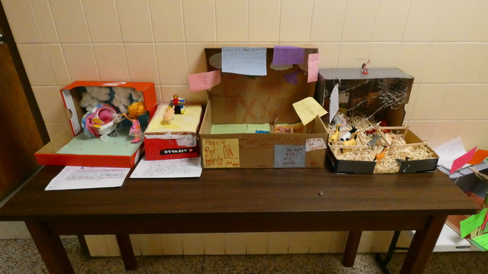 Charlotte's Web dioramas made by 3rd grade