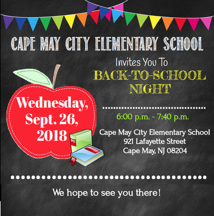 Back to School Night, Sept. 26th 6-7:40 PM
