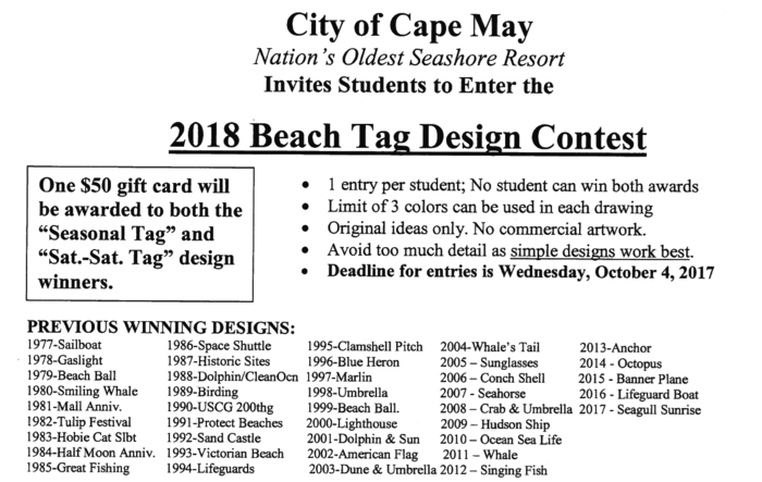 2018 Cape May Beach Tag Contest