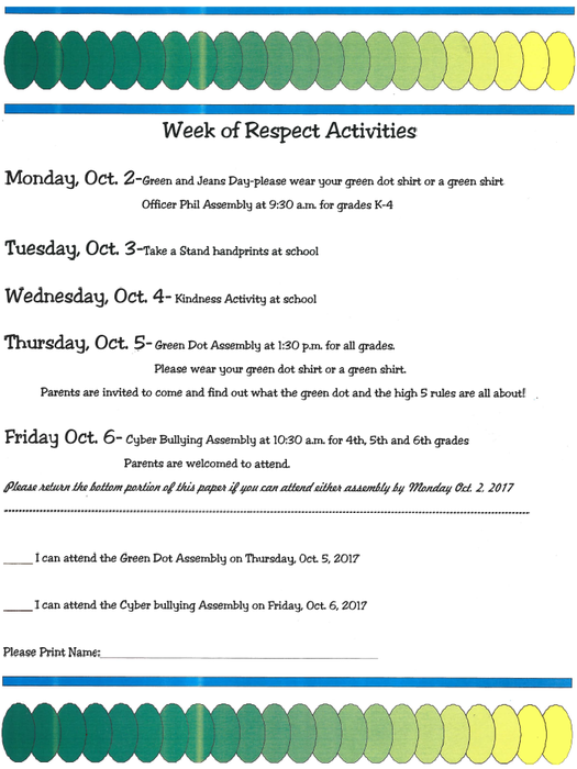 Week of Respect Activities, October 2017
