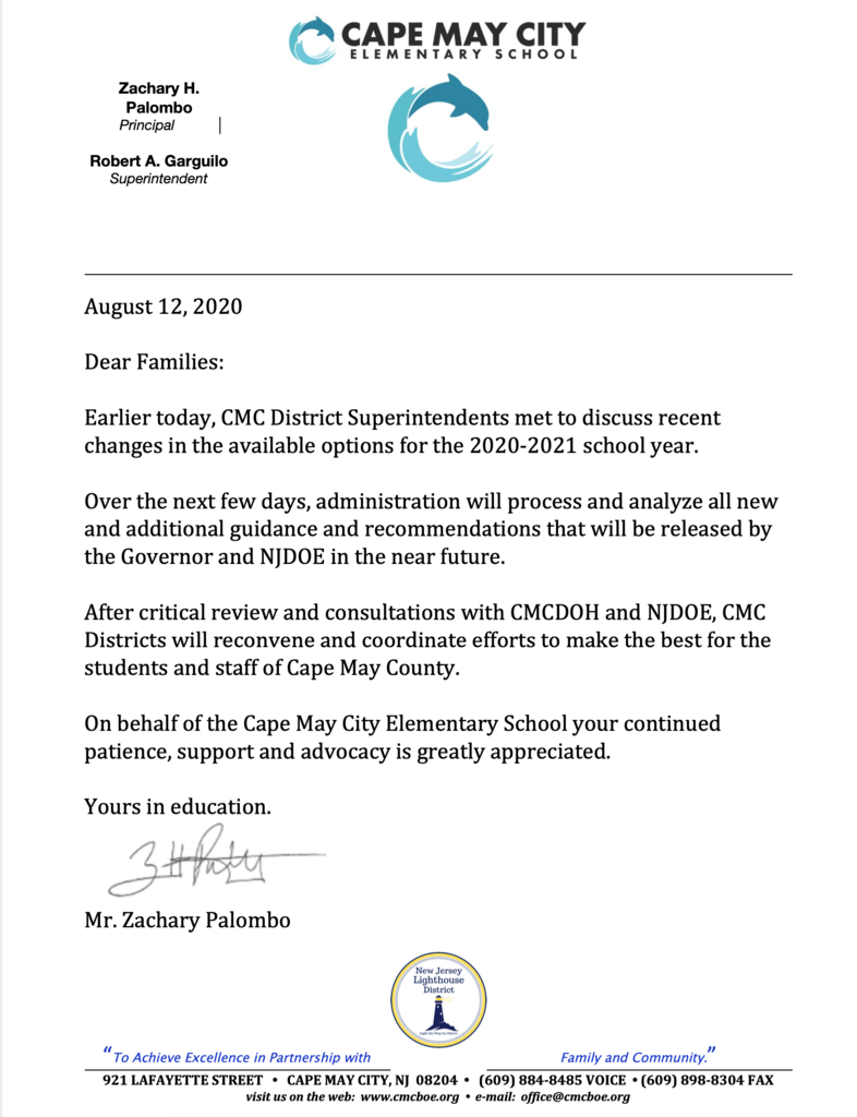 Letter in response to Governors NJDOE Announcement 08 /12/2020